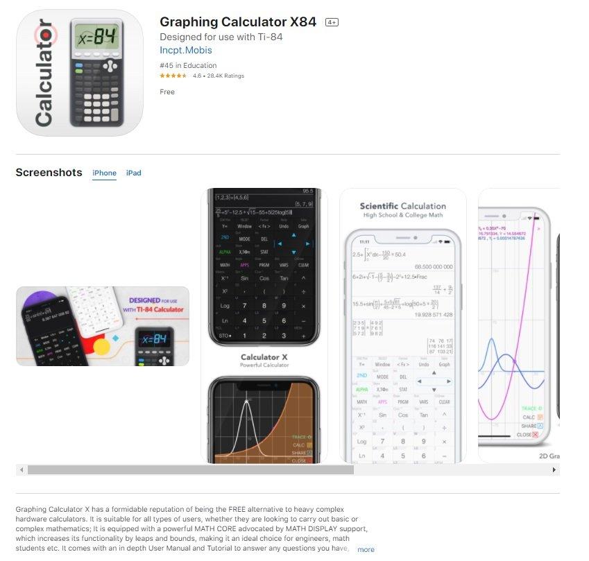 Graphing Calculator X84 جرافنج كالكليتور
